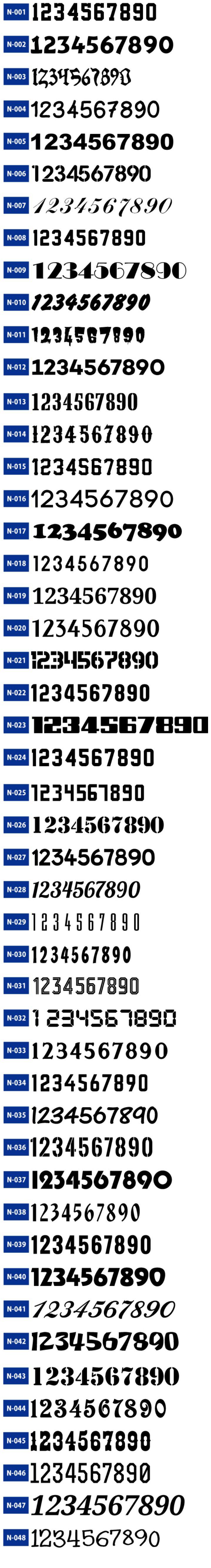 ドッジボール用のオリジナルユニフォームで使用できる数字フォントの一番目。