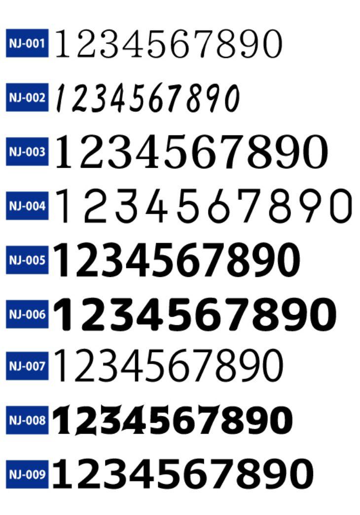 ドッジボール用のオリジナルユニフォームで使用できる数字フォントの二番目。