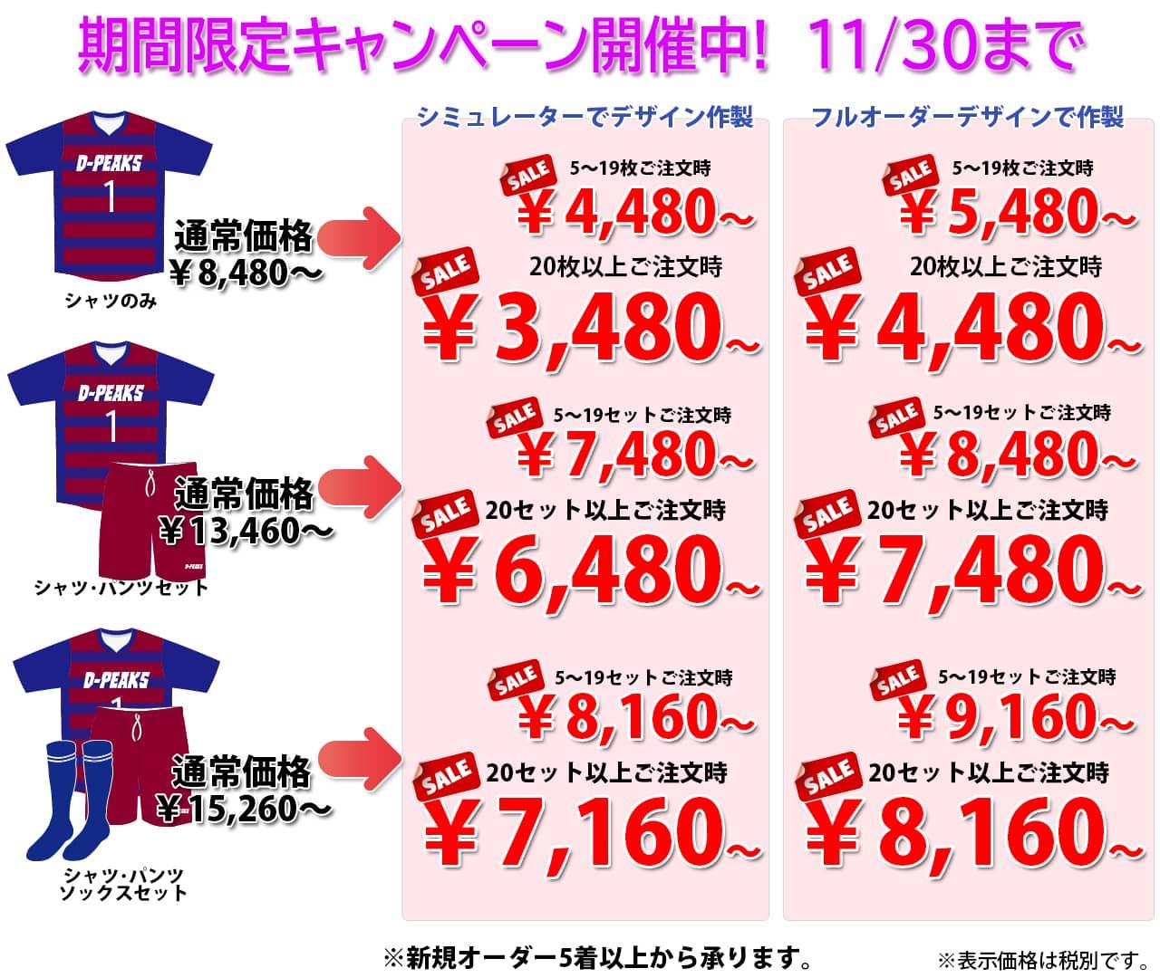 ドッジボールのオリジナルオーダーユニフォームのDodgeball-Peaks(ドッジボールピークス)のオータムキャンペーン価格表。