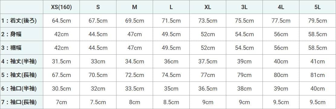ドッジボール用レギュラーラグランシャツのサイズ表(XS、S、M、L、XL、3L、4L、5L)。