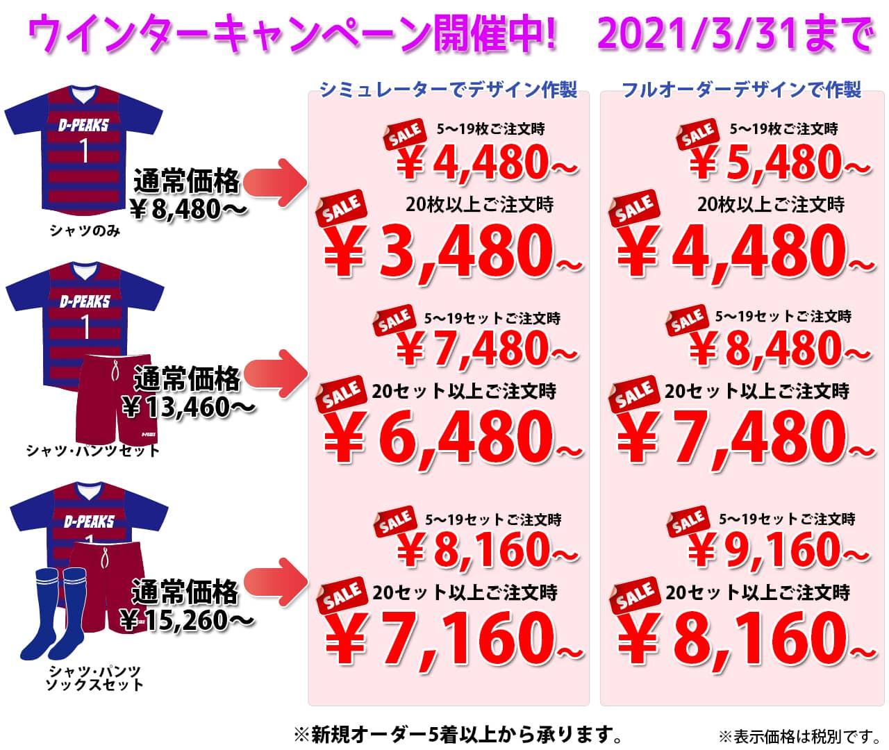 ドッジボールのオリジナルオーダーユニフォームのDodgeball-Peaks(ドッジボールピークス)の冬のキャンペーン価格表。